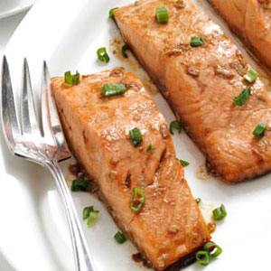 Maple Glazed Salmon On Plate