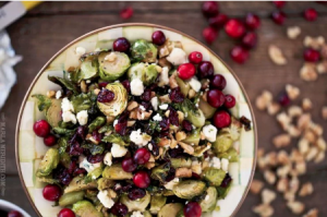 Maple Roasted Brussels Sprouts with Walnuts, Blue Cheese & Cranberries